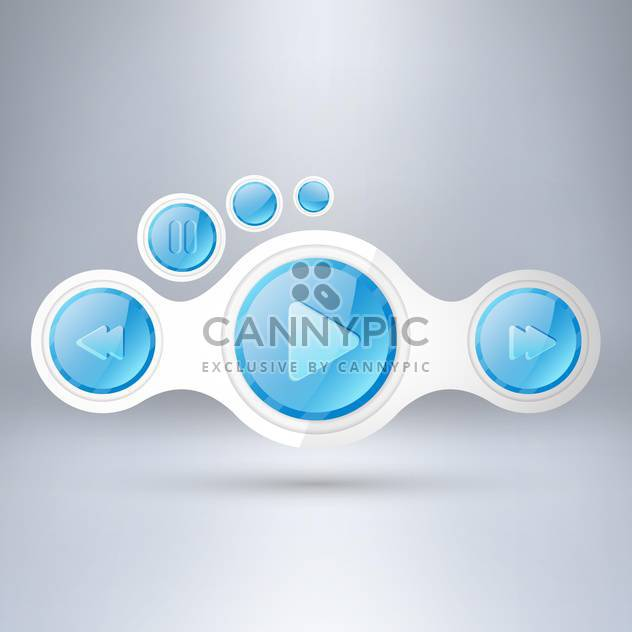 Media player elements on grey background - Free vector #130579
