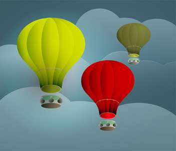 Vector illustration of colorful hot air balloons on sky - Free vector #130589