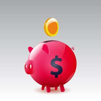 Vector money box pig with gold coin on grey background - Free vector #130609