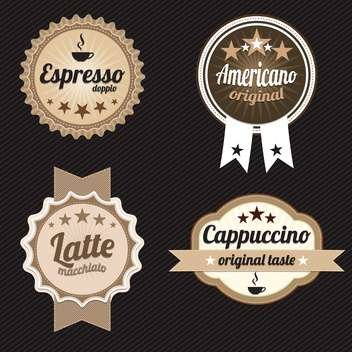 round shaped coffee labels and badges on black background - vector gratuit #130689