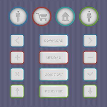 web buttons set on grey background - vector gratuit #130759
