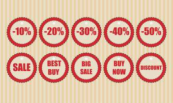 Vector round shaped discount labels on striped beige background - бесплатный vector #130779
