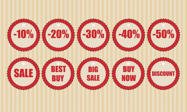 Vector round shaped discount labels on striped beige background - vector #130779 gratis