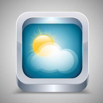 Weather icon with sun and cloud on grey background - vector gratuit #130899