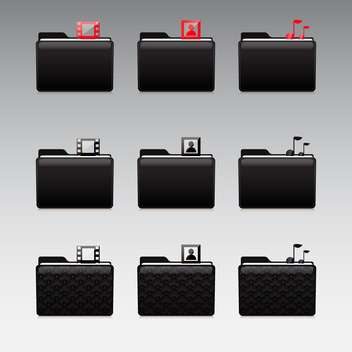 Multimedia icons set photo and video and music - Free vector #130919