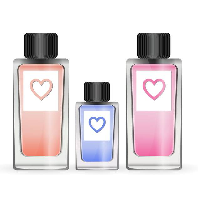 Illustration of a set from three small bottles of female perfumery of different colors - Free vector #130929
