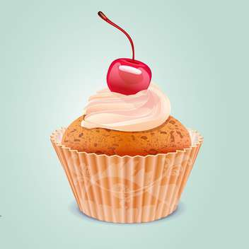 Yummy cherry cake vector illustration - Free vector #131069