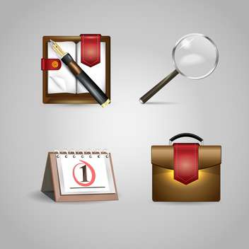 Vector office objects icons on grey background - vector gratuit #131099