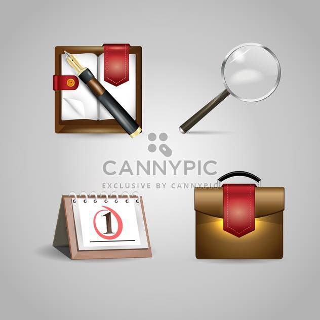 Vector office objects icons on grey background - Free vector #131099