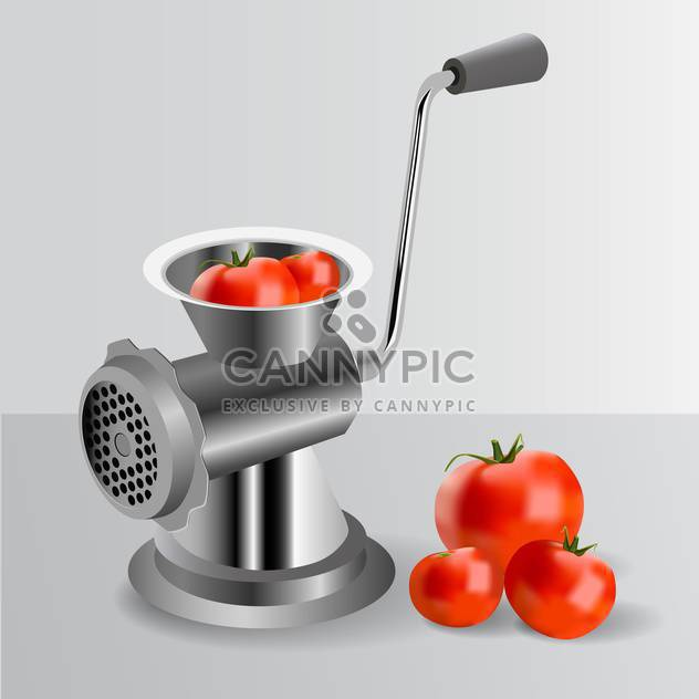 Metallic classic mincer with tomatoes - Kostenloses vector #131269