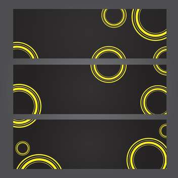 Set of banners with yellow circles on black background - vector #131339 gratis