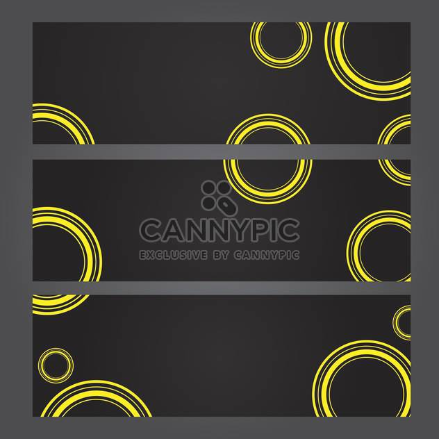 Set of banners with yellow circles on black background - Free vector #131339