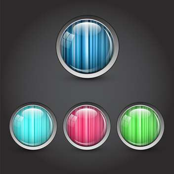 Round buttons elements set on black background - Free vector #131349
