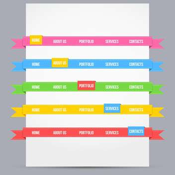 Web design template elements with icons set - vector gratuit #131399