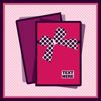 Pink card with ribbon on polka dot background - Free vector #131619