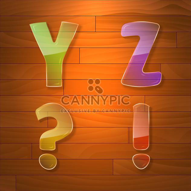 Colorful glass vector font on wooden background - Free vector #131669