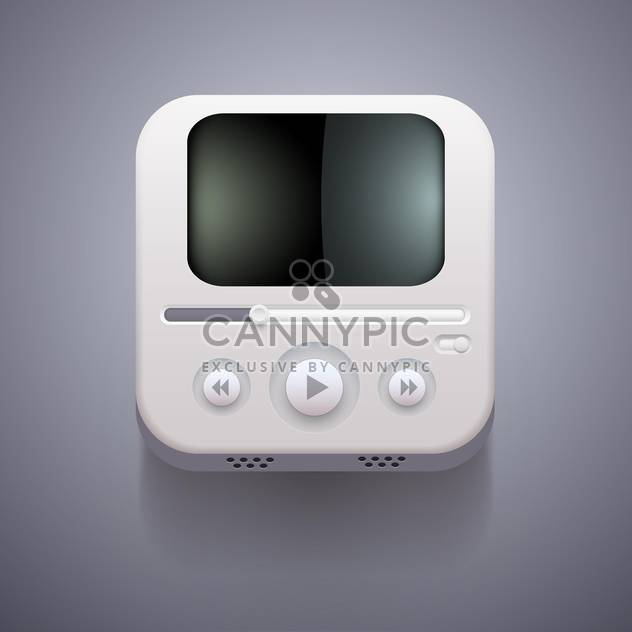 Media player vector icon on grey background - Kostenloses vector #131679