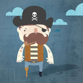 Vector grunge background with pirate - vector gratuit #131779