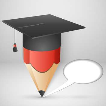 Pencil in mortar board hat with speech bubble - vector #131829 gratis
