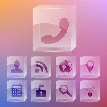 Vector set of phone icons on gradient background - vector #131939 gratis