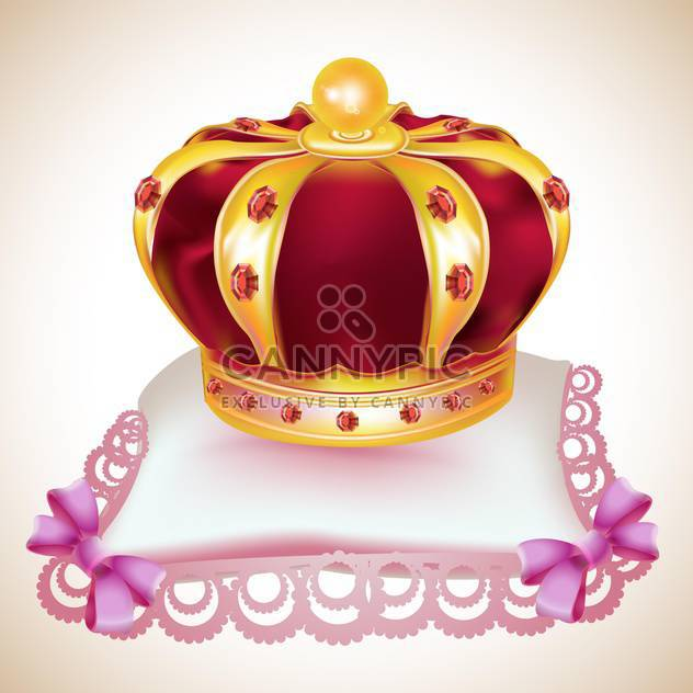Gold crown with red gems on pink pillow - Free vector #131959