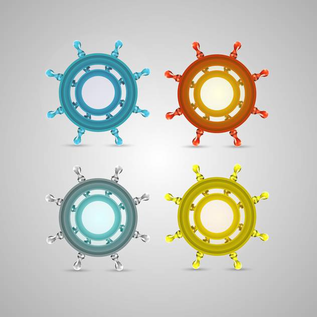 steering ship wheel set on grey background - Free vector #131999