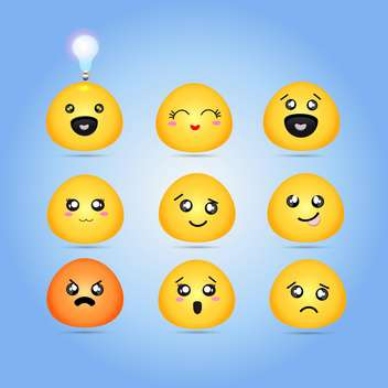 Set of different characters yellow emoticons - vector gratuit #132009