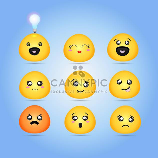 Set of different characters yellow emoticons - Free vector #132009