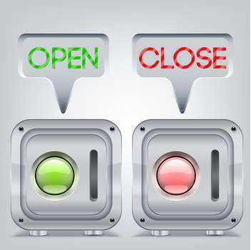 Buttons in open and close state - vector #132039 gratis