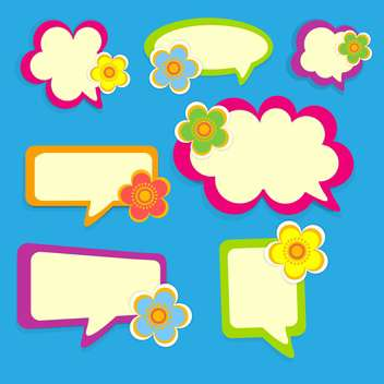 Vector floral speech bubbles on blue background - vector gratuit #132069
