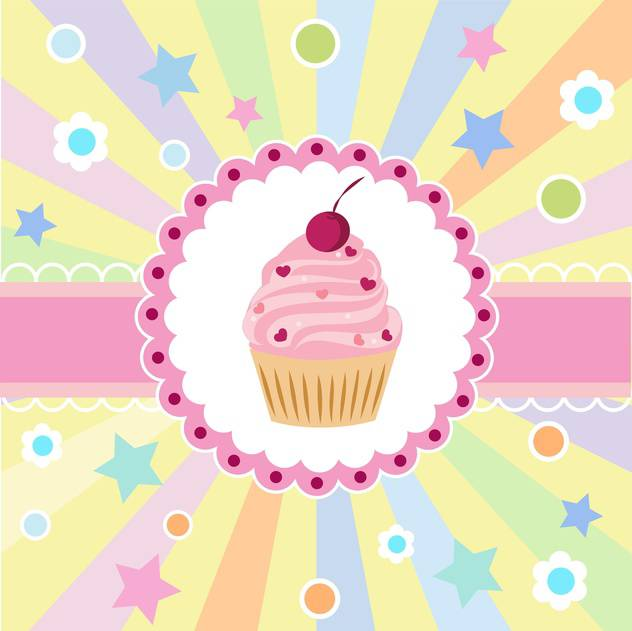 Cute Happy Birthday Card With Cupcake Vector Illustration Free