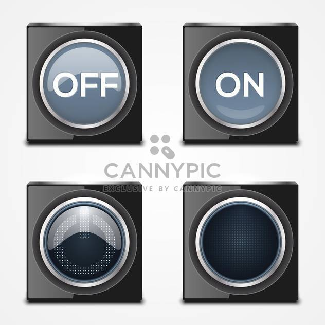 On, Off black buttons on white background - Free vector #132179
