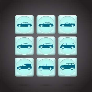 Vector green cars buttons set on black background - бесплатный vector #132199