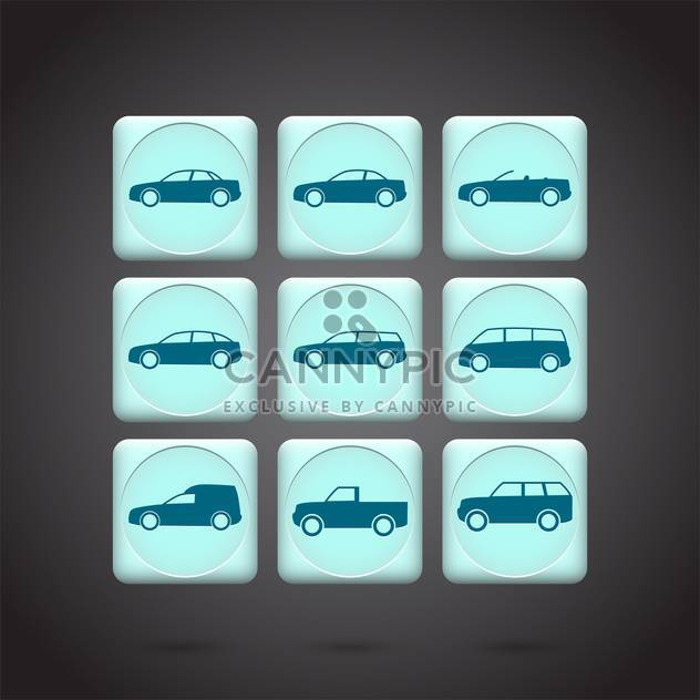 Vector green cars buttons set on black background - Free vector #132199