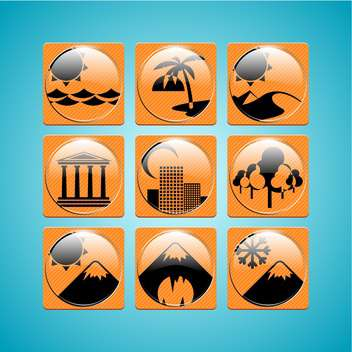 Orange travel icons on blue background ,vector illustration - vector gratuit #132209
