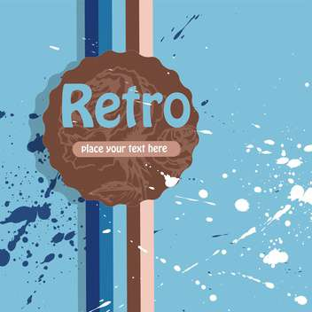 Vector retro background with stripes and blots on a blue background - vector gratuit #132219