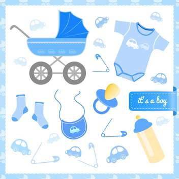 Baby boy announcement card, vector illustration - бесплатный vector #132239