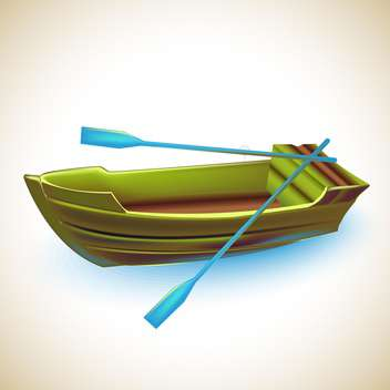 green wooden boat with blue oars ,vector illustration - vector gratuit #132279