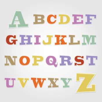 Joyful sticker font - letter from A to Z,vector illustration - бесплатный vector #132359