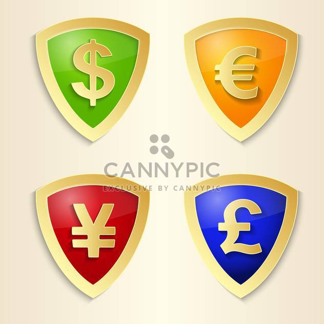 Currency signs with dollar, euro, yen and pound - Kostenloses vector #132369