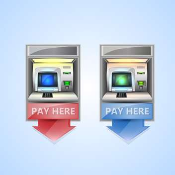 vector money atm on blue background - vector gratuit #132379