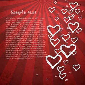 red vector retro background with hearts - vector gratuit #132409