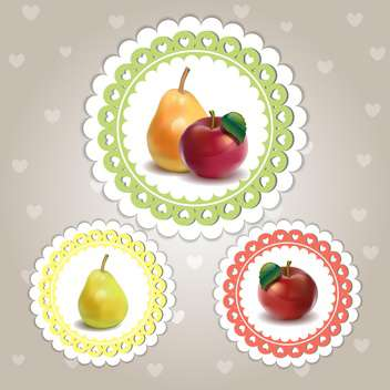 colorful set of fruits frames - vector gratuit #132519