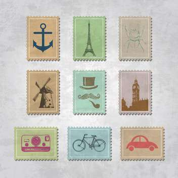 set of vector travel stamps - vector gratuit #132559
