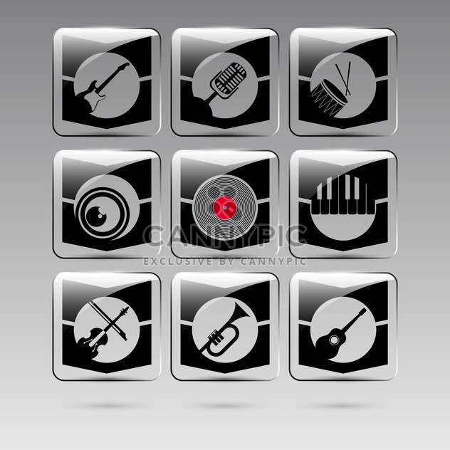 set of musical instruments buttons - Free vector #132579