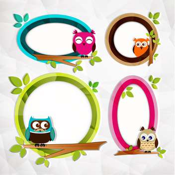 set of frames with owls background - vector gratuit #132599