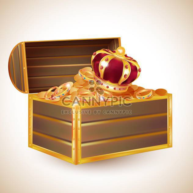 antique chest full of glimmering treasure - Free vector #132649