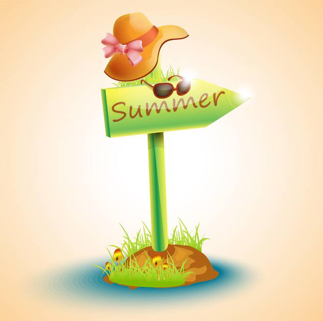 summer arrow board with hat and glasses - vector gratuit #132669