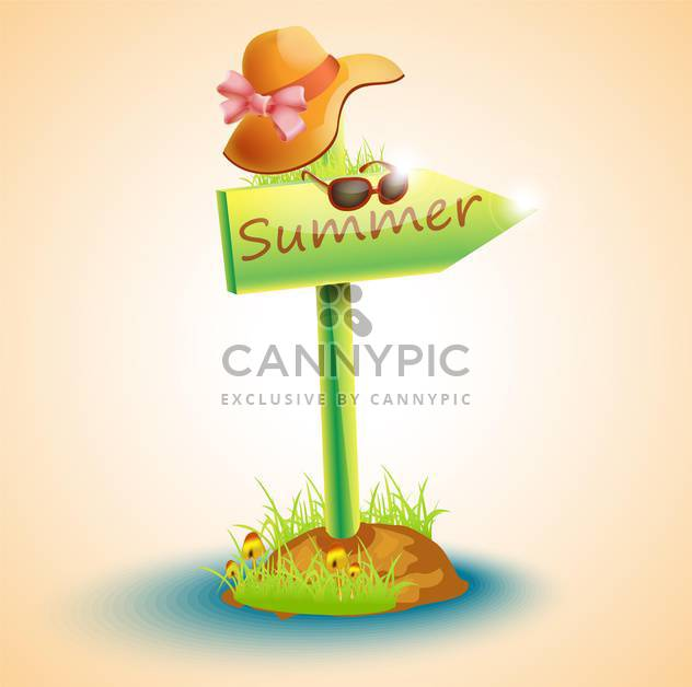 summer arrow board with hat and glasses - Free vector #132669
