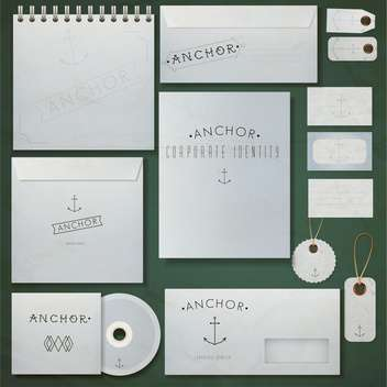 paper envelopes, notebook and visit cards set - vector #132859 gratis